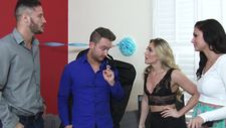 Threesome with two busty blondes - video 2